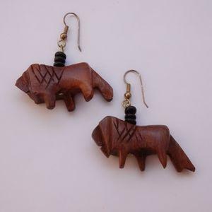 Vintage 1980s Wooden Lion Earrings